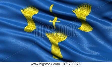 Flag of Cheshire waving in the wind. 3D illustration.