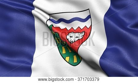 Flag of the Northwest Territories waving in the wind. 3D illustration.