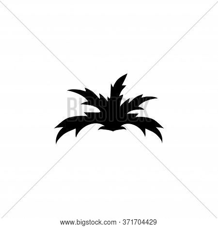 Fern And Monstera Bush, Tropical Plant. Flat Vector Icon Illustration. Simple Black Symbol On White