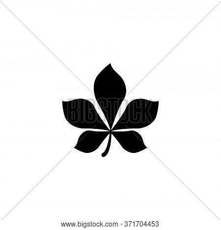 Horse Chestnut Leaf, Wild Plant Tree. Flat Vector Icon Illustration. Simple Black Symbol On White Ba