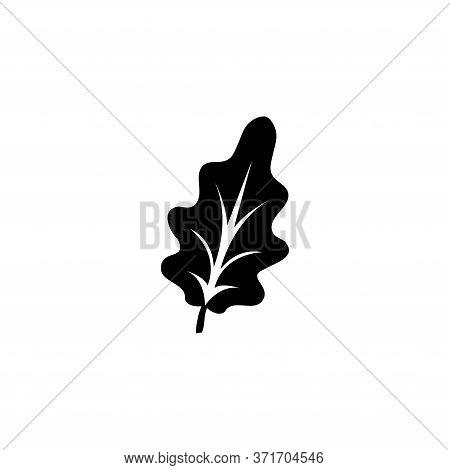 Oak Leaf Silhouette, Forest Plant Tree. Flat Vector Icon Illustration. Simple Black Symbol On White