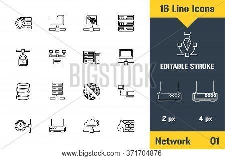 Network, Hosting Server Icons Set. Thin Line Icon - Outline Flat Vector Illustration. Editable Strok
