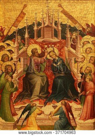 ZAGREB, CROATIA - DECEMBER 08: Unknown Styrian painter: Coronation of the Virgin, December 08, 2014 in Zagreb, Croatia