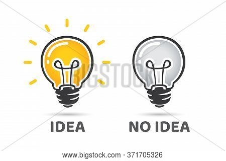 Idea And No Idea Concept. Light Bulb Vector Icon. Bright Idea Symbol. Off Light Bulb, No Idea Symbol