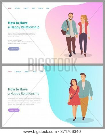How To Have Happy Relationship, Smiling Man And Woman Embracing, Holding Hands, Portrait View Of Cou