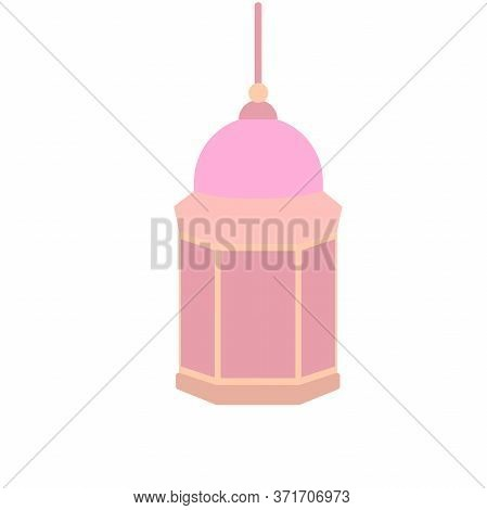 Hanging Colorful Arabic Lamps Or Lanterns On White Background, Concept For Muslim Community Holy Mon