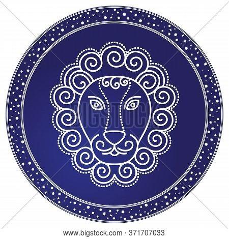 Leo Sign Of Horoscope, Design Of Astrological Element. Nemean Lion Image In Sketchy Manner. Western