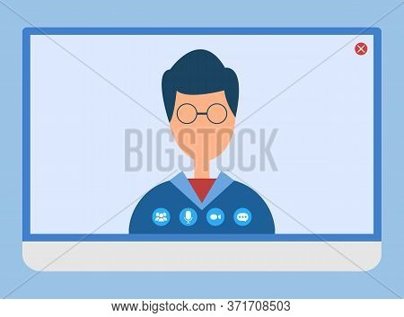 Applications Allowing To Communicate With People Vector, Isolated Male Wearing Glasses On Video Conf