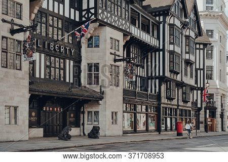 London, Uk - June 13, 2020: Facade Of Closed Liberty Department Store In London And Empty Street In