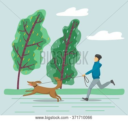 Man Running With Pet On Leash, Stormy Day. Bad Weather Conditions, Seasonal Coldness Of Autumn Or Sp