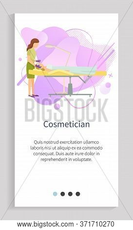 Cosmetician Procedures In Spa Salon Vector, Lady Treating Face Of Client Professional Working With F