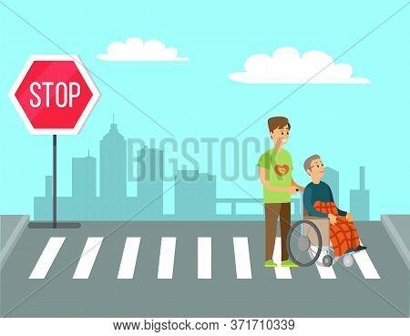 Volunteer Person Helps To Old Woman, Charity Volunteering. Vector Man Helping Granny In Wheelchair U