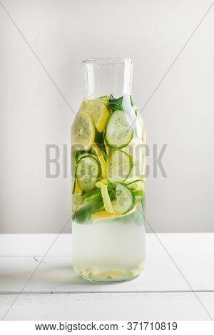 Detox Sassy Water With Lemon, Cucumber, Mint, Ginger.
