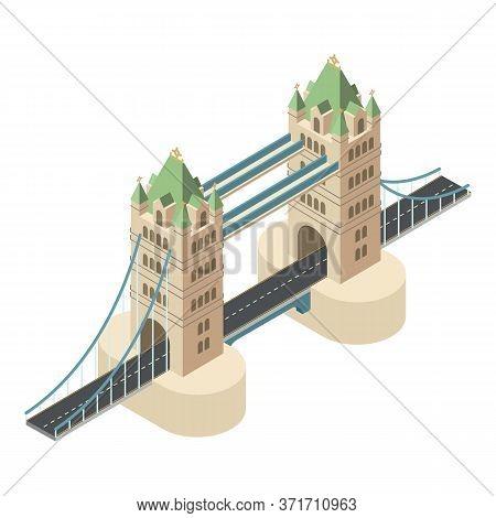 London Bridge Icon. Isometric Of London Bridge Vector Icon For Web Design Isolated On White Backgrou