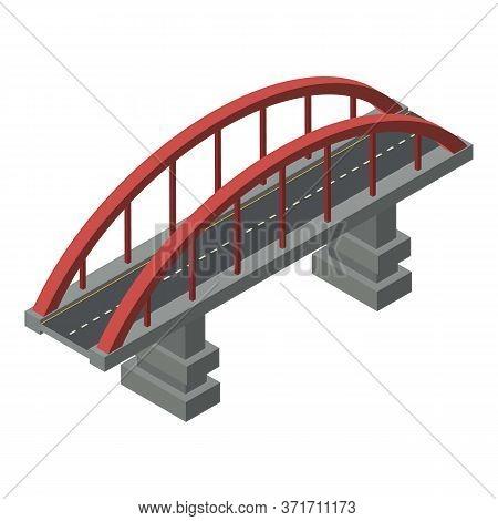 Concrete Bridge Icon. Isometric Of Concrete Bridge Vector Icon For Web Design Isolated On White Back