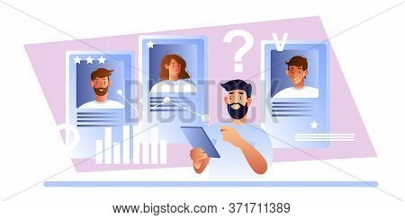 Hr Stock Concept With Recruiter And Candidates' Profiles. Vector Illustration With Male Employer Sea