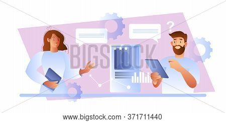 Recruitment Concept With Male Employer Interviewing Young Female Candidate. Vector Illustration In F