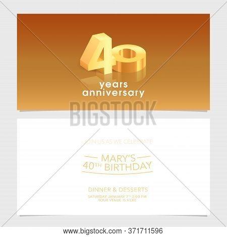 40 Years Anniversary Invitation Card Vector Illustration. Design Template Element