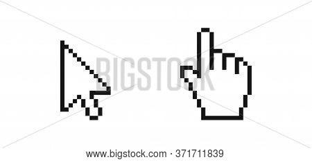 Mouse Arrow Pointer. Hand Click Icon In Pixel