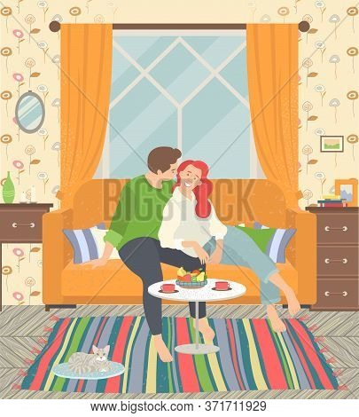 Love Always Together. Romantic Couple Sitting And Hugging On Kitchen Windowsill. Cosy Interior. Dini