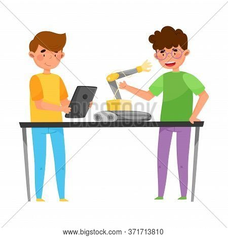 Boys Teenagers Standing At Table Engineering And Configurating Robot Vector Illustration
