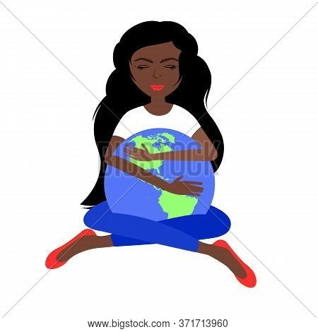 A Beautiful African American Girl Dressed In The Colors Of The American Flag Holds The Globe. Vector