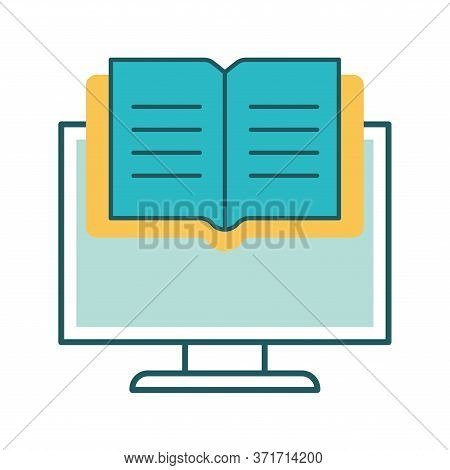 Ebook On Computer Line And Fill Style Icon Design, Education Online And Elearning Theme Vector Illus