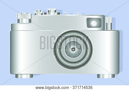 Vintage Stylized Camera Isolated On A Blue Background. Paper Cuts. 3d Illustration. Vector, Eps10.