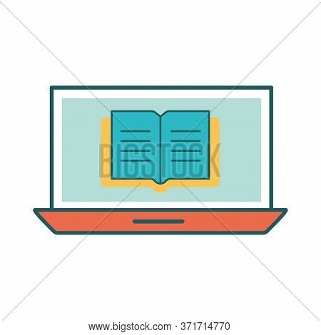 Ebook On Laptop Line And Fill Style Icon Design, Education Online And Elearning Theme Vector Illustr