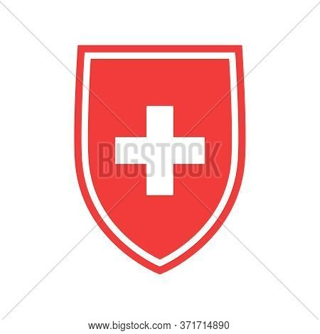 Protection Of Immunity Graphic Icon. Shield Immune System Concept. Protection Health Sign Isolated O