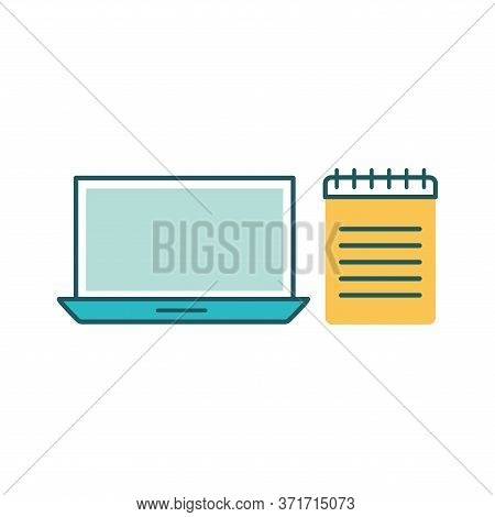 Laptop And Notebook Line And Fill Style Icon Design, Education Online And Elearning Theme Vector Ill