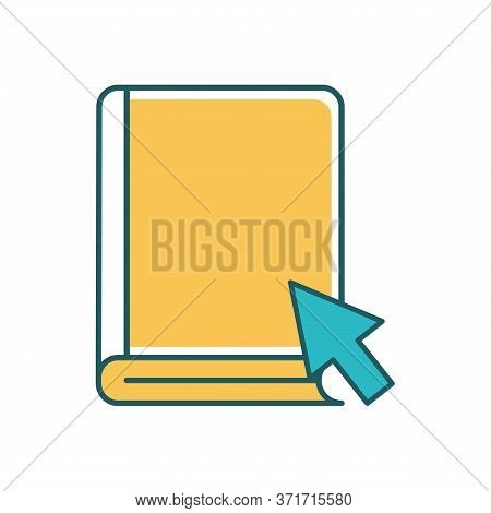 Ebook With Cursor Arrow Line And Fill Style Icon Design, Education Online And Elearning Theme Vector