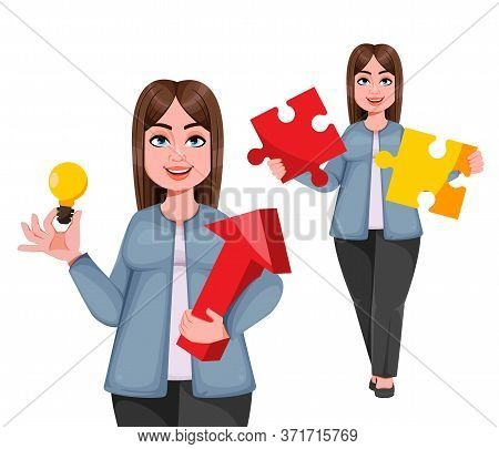 Happy Large Business Woman, Woman Of Plus Size, Set Of Two Poses. Cheerful Chubby Businesswoman Cart