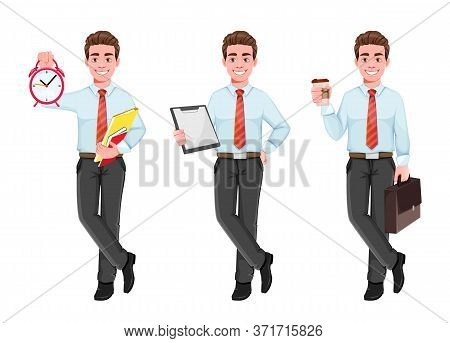 Successful Business Man, Set Of Three Poses. Handsome Businessman In Business Clothes With Alarm Clo