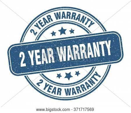 2 Year Warranty Stamp. 2 Year Warranty Label. Round Grunge Sign
