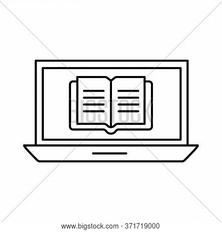 Ebook On Laptop Silhouette Style Icon Design, Education Online And Elearning Theme Vector Illustrati