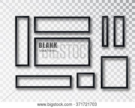 Black Realistic Empty Picture Frame On Transparent Background. Blank Black Picture Frame Mockup Temp