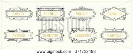 Art Deco Style Line Border And Frames, Decorative Geometric Ornament Set Label Vintage Vector Design