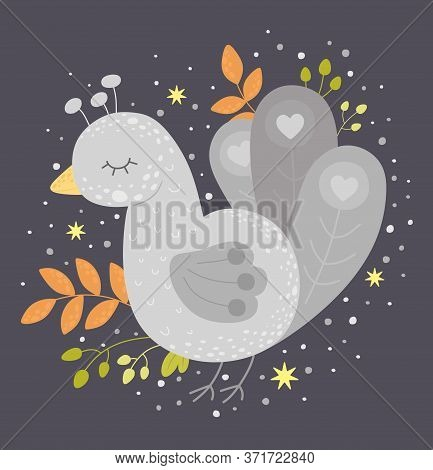 Cute Fabulous Bird In The Scandinavian Style. Vector Illustration, Great For Prints, Paintings, Invi