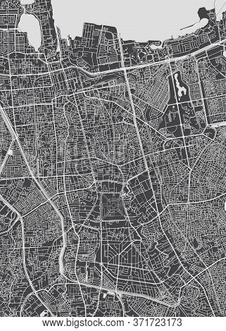 City Map Jakarta, Monochrome Detailed Plan, Vector Illustration