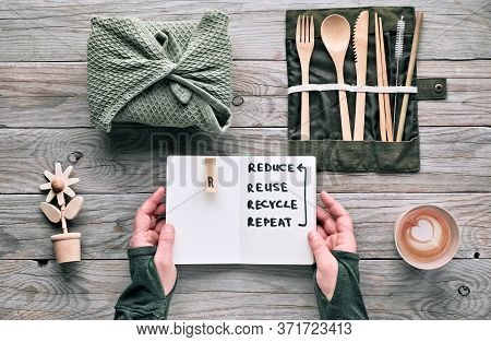 Creative Flat Lay, Zero Waste Lunch Concept With Set Of Reusable Wooden Cutlery, Lunch Box In Textil