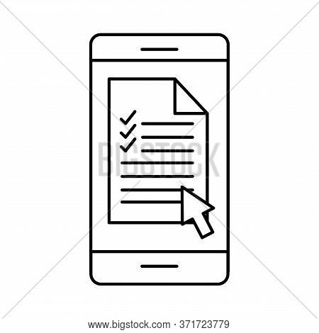 Document On Smartphone Silhouette Style Icon Design, Education Online And Elearning Theme Vector Ill