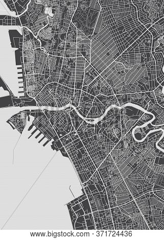 City Map Manila, Monochrome Detailed Plan, Vector Illustration