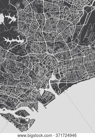 City Map Singapore, Monochrome Detailed Plan, Vector Illustration