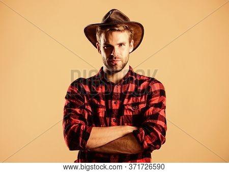 Example Of True Masculinity. Cowboy Wearing Hat. American Cowboy. Western Life. Man Unshaven Cowboy