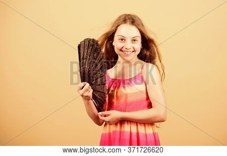 Air Conditioner. Waving To Create Current Air. Little Girl Waving Elegant Fan. Cooling And Ventilati