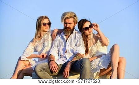 Free Time. Friendship And Love Relations. One Man And Two Girls Feel Free. Interaction Between Man A
