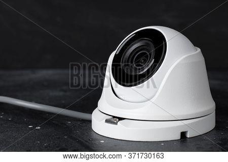 Cctv , Ip Camera Security On Dark Background, Copy Space