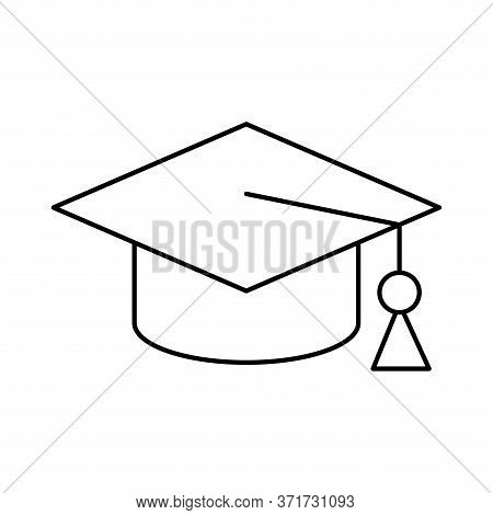 Graduation Cap Silhouette Style Icon Design, University Education School College Academic Ceremony D