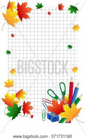 Background For School Diploma. Vertical School Background Notebook With Autumn Maple Leaves And Scho